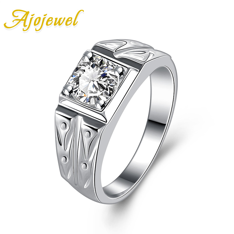 FREE SHIPPING CLASSIC STYLE 18K WHITE GOLD PLATED CLEAR ZIRCON RING FOR MEN
