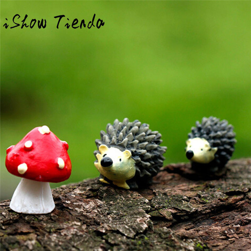 Mossfairy Miniature Ornament Hedgehog Mushroom Set Decor Fairy Garden 2017 hot mini Hedg ...