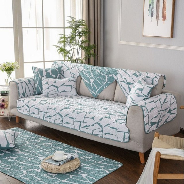 Corner Sofa Protective Case Cover Couch Covers Quilted Twill Cotton Cushion Fabric Non