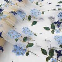 2019 localizar hydrangea malha bordado tecido de renda para o vestido de verão bazin riche getzner telas por metro tissus au metro tissu