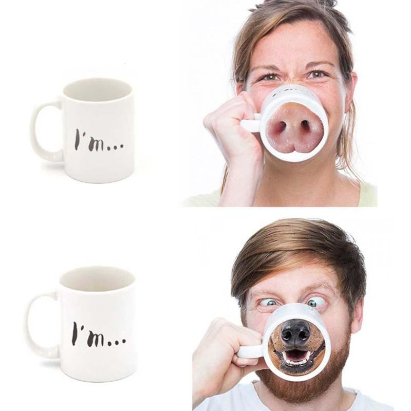 Prank Funny Pig/Dog Nose Cup New Ceramic Mug Glass Tea Milk Coffee Cups Office Home Kitchen Water Mug Gift Drinkware V3