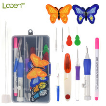 Mixed Magic Embroidery Stitching Punch Needle with 2 Pcs Embroidered Patterns Kit Knitting Sewing Craft Tools