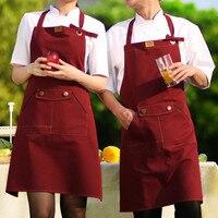Longue Rouge/Brun Toile Tablier Café Bar Bistro Boulangerie Traiteur Chef Barista Uniforme Fleuriste Peintre Salon Artisanat Boutique Travail porter D12