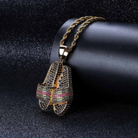 Micro Paved AAA CZ Stone Cubic Zirconia Slippers Sandals Pendants Necklaces Gold Color Men Hip Hop Bling Ice Out Rapper Jewelry