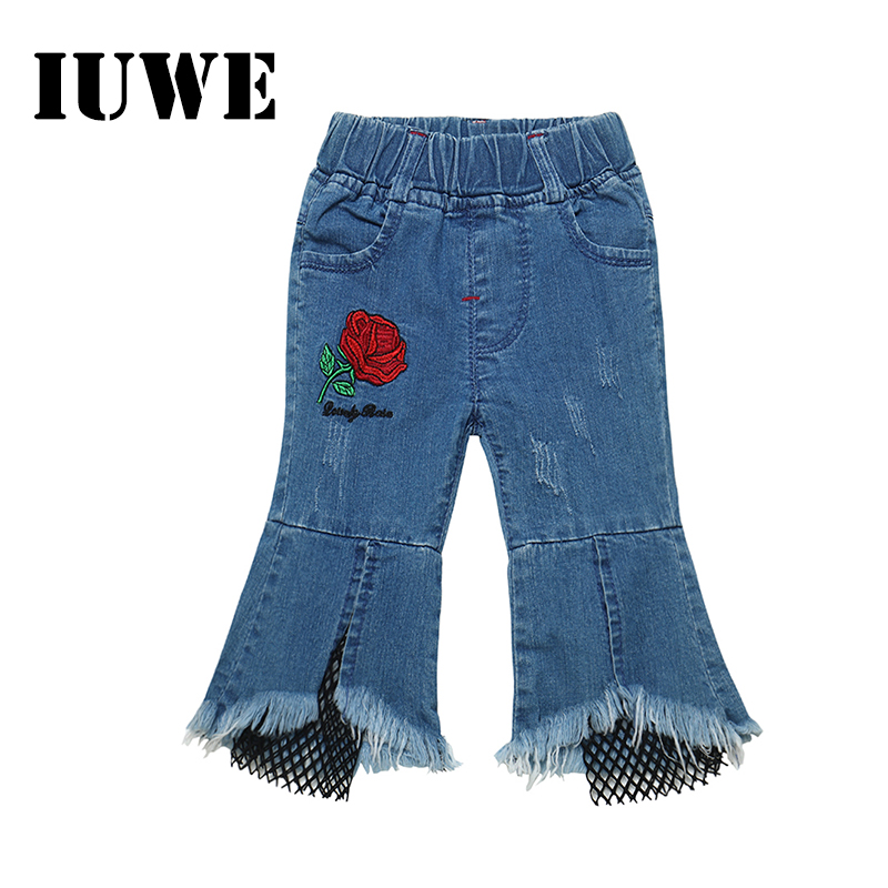 High Waist Childrens Jeans Denim Rose Red Flower Casual Blue Long Pants   Year Teens Girls Summer Spring Wear Kids Clothing