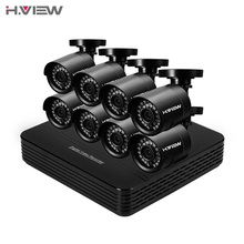 H.View 8CH CCTV System 720P HDMI AHD CCTV DVR 8PCS 1.0 MP IR Security Camera 24 Leds 1200 TVL CCTV Camera System Kits No HDD