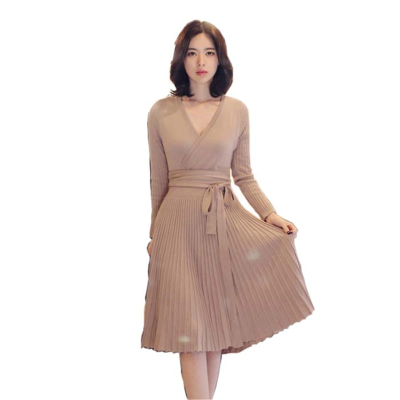 Fashion Autumn Winter Women Knitted Sweater Dress Retro Elastic Lacing Slim Sexy Bodycon Fit Pleated Dresses Vestidos mujer Robe