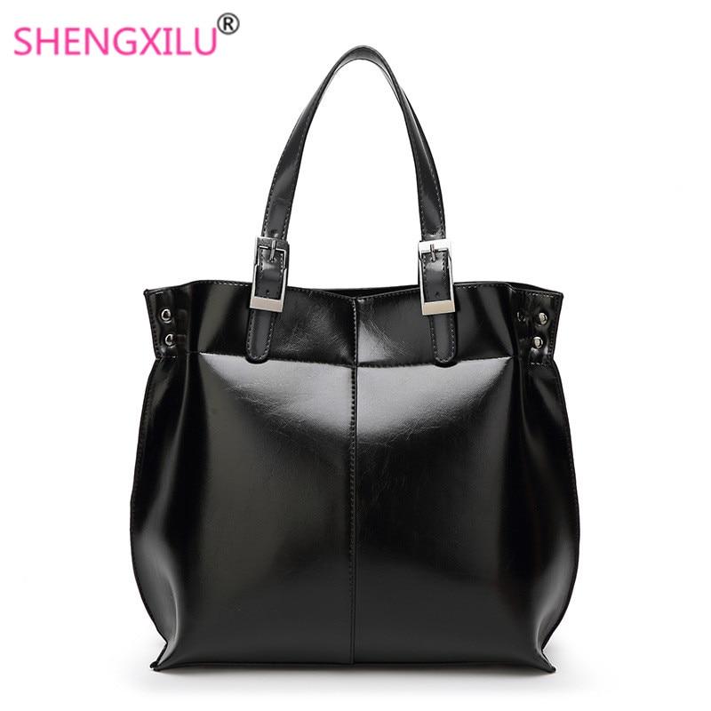 ФОТО Shengxilu genuine leather women bag fashion girls totes spring summer women shoulder bag black brand female shopping handbag
