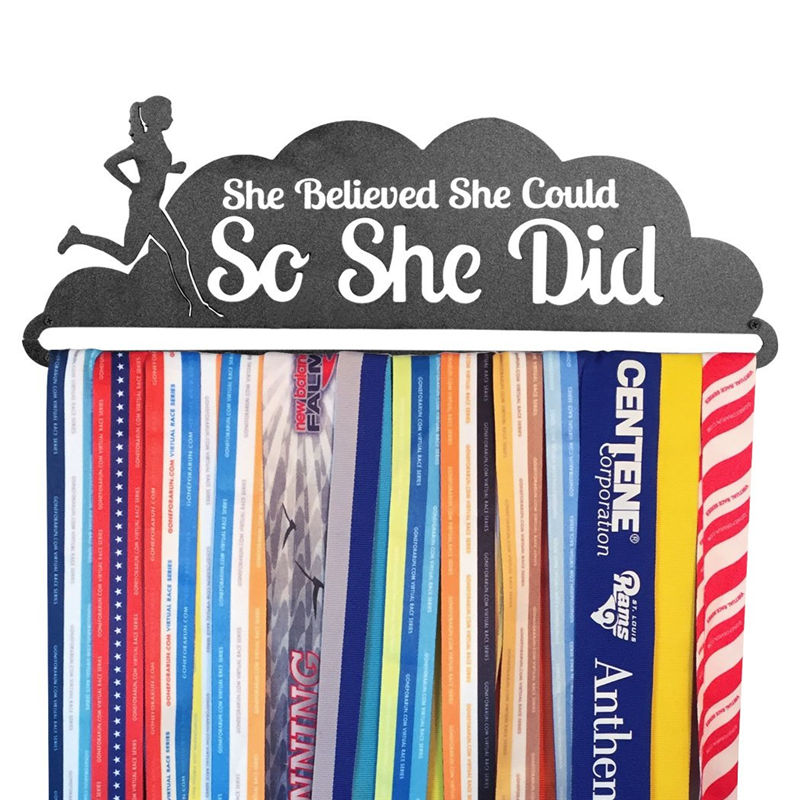 WR Hot Sale Runner's Race Medal Hanger She Believed She Could New Sports Medal Display Shelf  Hold 12~18 Medals