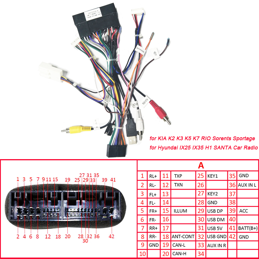 Car Stereo 20 PIN Power Adapter Wiring Harness for KIA K2 K3 K5 K7 on