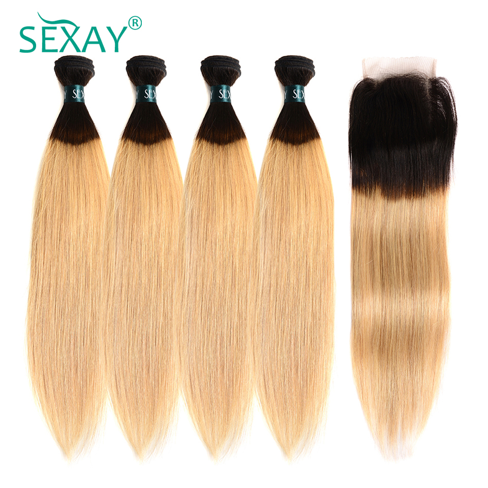 Sexay Ombre Brazilian Straight Hair 4 Bundles Non Remy Hair With Closure T1B/27 Blonde Ombre Human Hair Weave With Lace Closure