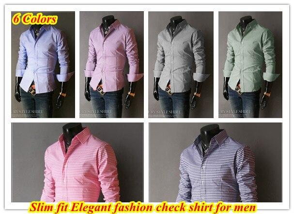 Бесплатная доставка Оптовые Корейский стиль Slim fit Sml XL платье марка мужские Роскошные пледы/проверка рубашка QR-1175