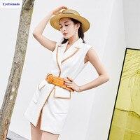 Women color block short bodycon vest Dress fashion V neck casual work office sashes party streetwear club dresses vestido 9985