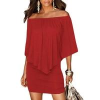 SEBOWEL Off Shoulder Womens Multiple Dressing Layered Ruffles Dresses Bodycon Mini Short Sexy Dress Hip Package