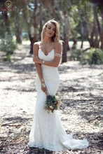 Romantic Beach Bridal Gowns Ivory Sleeveless Spaghetti Strap Backless V Neck Lace Boho Wedding Dresses 2019 robe de mariee novia