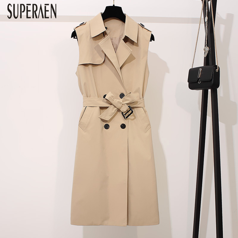 SuperAen 2019 Spring and Autumn Korean Style Sleeveless   Trench   Coat for Women Double-breasted Windbreaker Female