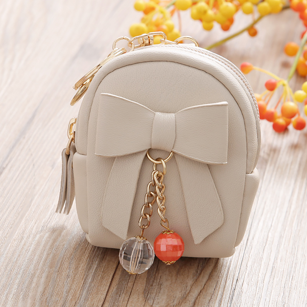 Women Faux Leather Mini Bowknot Keychain Dangle Bead Pendant Coin Bag
