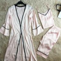 Inplusni women's pajama set period and 2019 female robe condole leisure trousers nightgown three piece sets Japan pijama pyjama