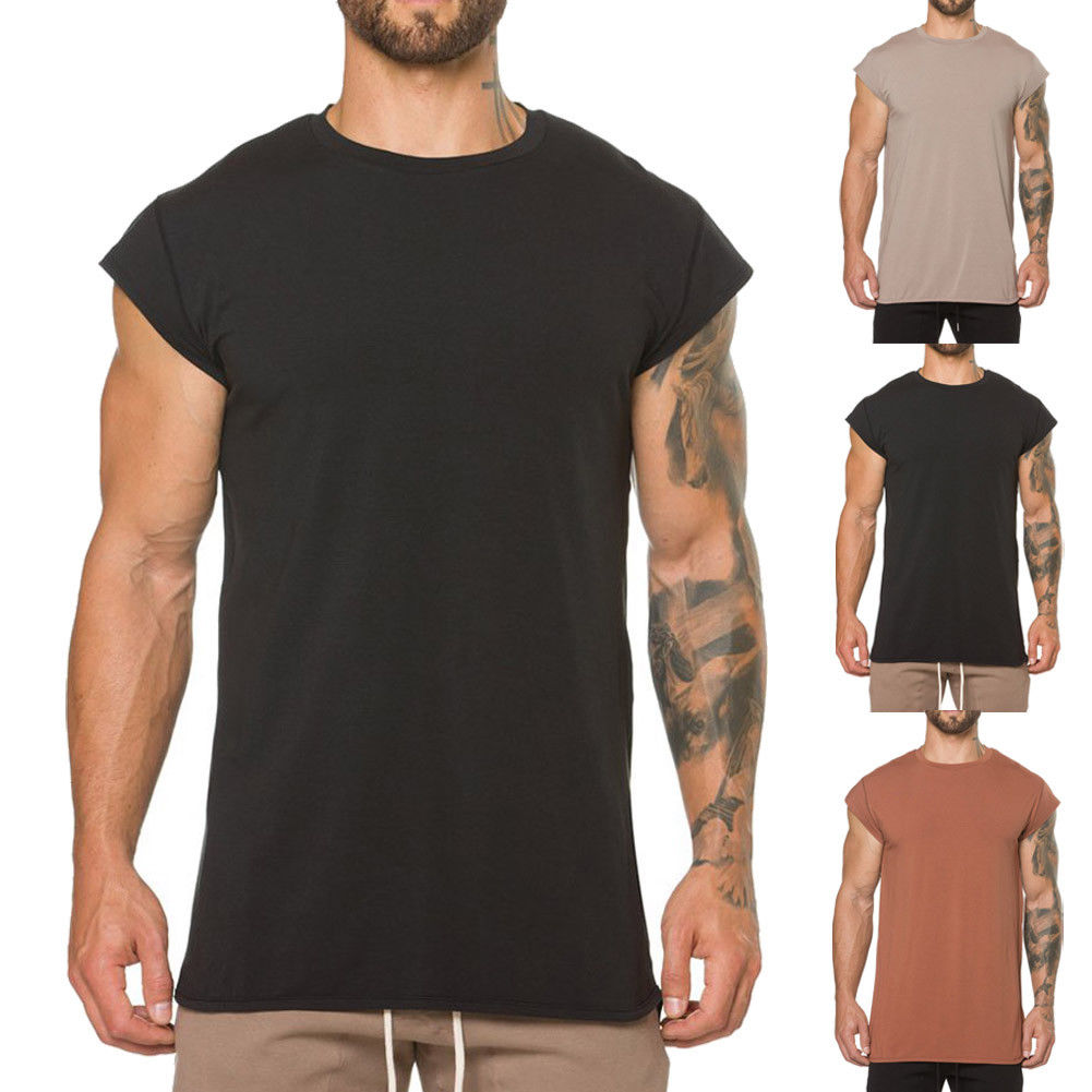 2018 New Fashion Men Summer Casual Solid T-Shirts Vest Short Sleeve Cotton Soft Pure Color O-Neck Tops