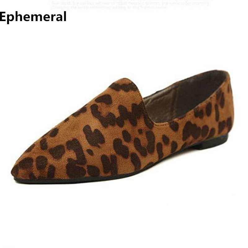4e07f59485cf Ladies Leopard Printed Loafers Fashion Shoes Flats Pointed Toe Beige Brown Plus  Size 43 34 Flock