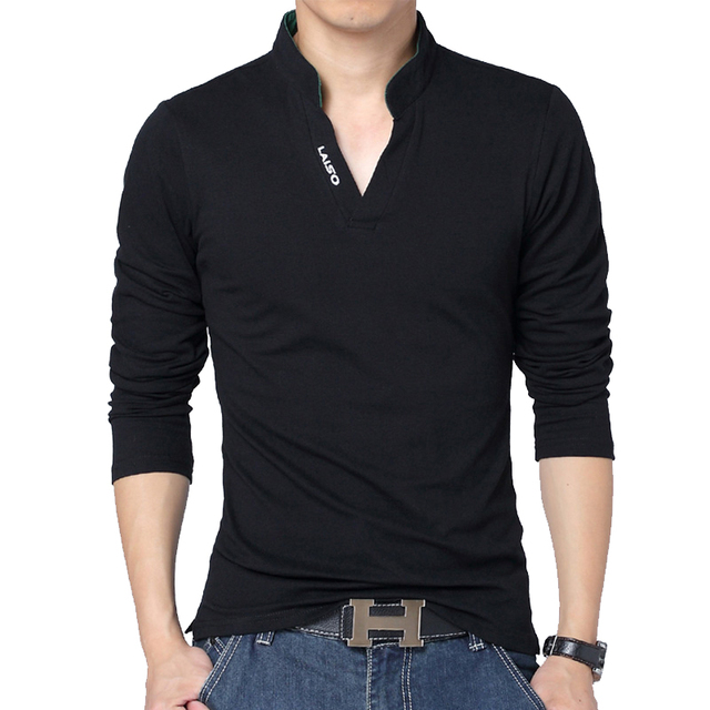 Hot Sale New 2016 Fashion Brand Men Long-Sleeve Cotton Polos Shirt Solid Color Slim Fit V-neck Shirt Casual Shirts Plus Size 5XL