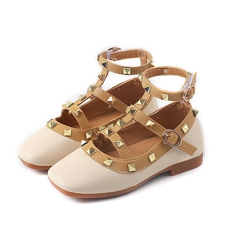 Ankle Strap Rivet Girls Leather Sandals High Quality Girls Party Shoes Flat Brand New Summer Beach Sandals for Girls