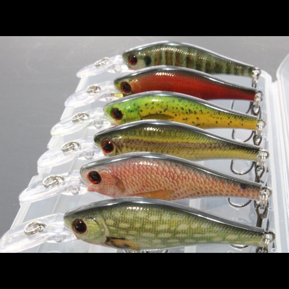 wLure 6 Fishing Lures per Pack 7.2g 8.5cm Lifelike Paint Slow Floating Medium Diver with Tackle Box Quality Hooks Lures HM515KB 6 in 1 anti winding sharp fishing hooks 4 piece per case