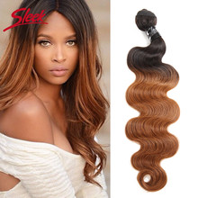 Sleek Ombre Mink Brazilian Hair Body Wave Human Hair Weave Bundles Hair Deal T1B/30 Two Tone Remy Bundles Hair Extensions(China)