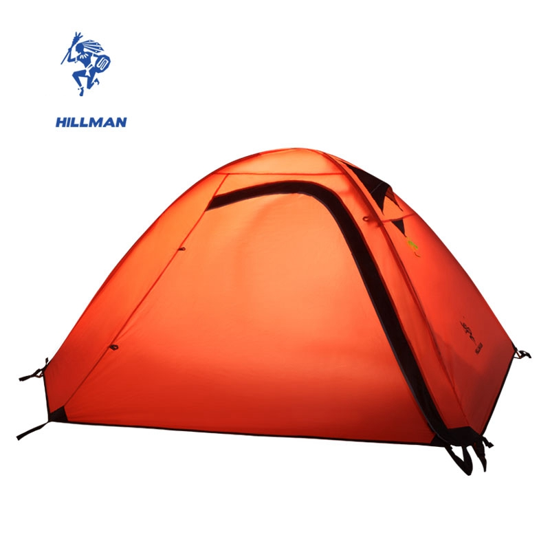 Hillman 2 Person Outdoor Tent Aluminum Poles Hiking Waterproof Camping Ultralight Double Layers Rainproof 2 Colors outdoor double layer 10 14 persons camping holiday arbor tent sun canopy canopy tent