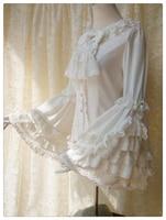 Sweet Design Women's Retro Flare Sleevelolita Lace Long Sleeve Shirt Harajuku Elegant Women Blouses Tops
