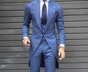 Morning Style One Button blue Groom Tuxedos Peak Lapel Groomsmen Best Man Mens Wedding Suit (Jacket+Pants+Vest+Tie) W:146