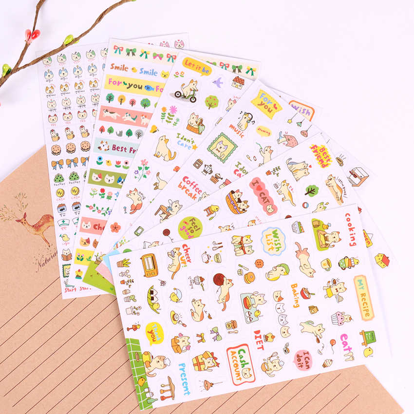 6 PCS/pack Creative Transparent PVC Stickers Cute Cat Album Decoration Stickers Children Diy Toy Diary Decoration Stationery