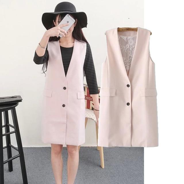 Новый 2016 весна кружева лоскутная розовый женский костюм жилет женственный v-образным вырезом сплошной без рукавов жилет топ роковой colete