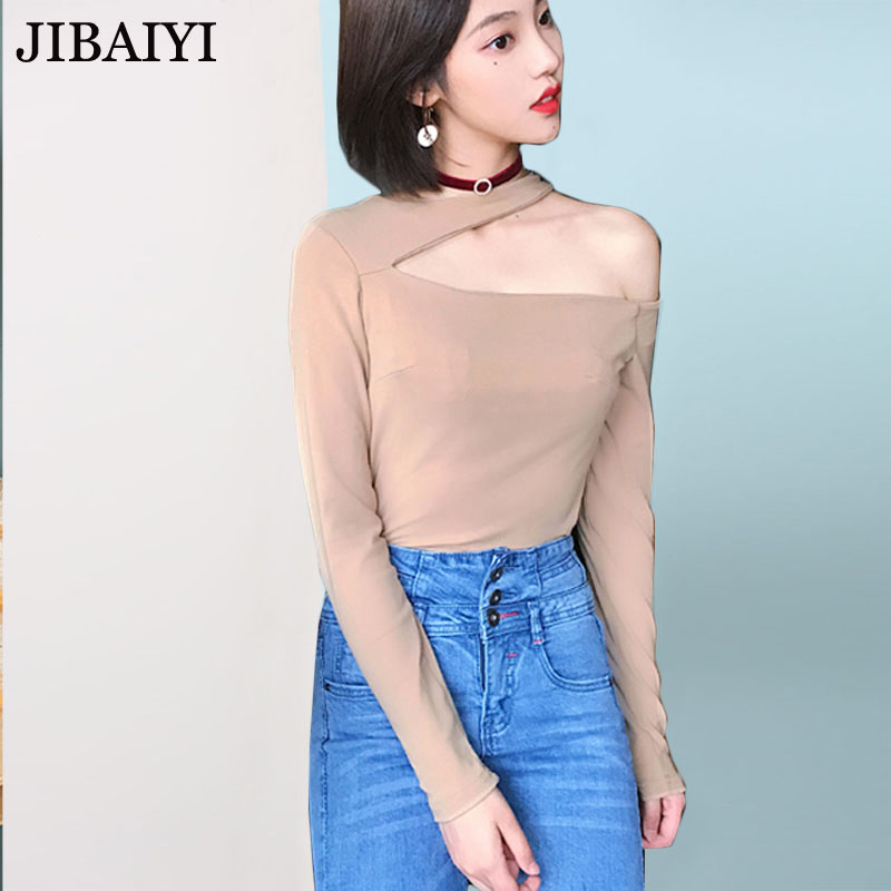 Sexy halter t-shirt women spring summer cotton slim stretch long sleeve t shirt female off shoulder tops solid khaki black tee