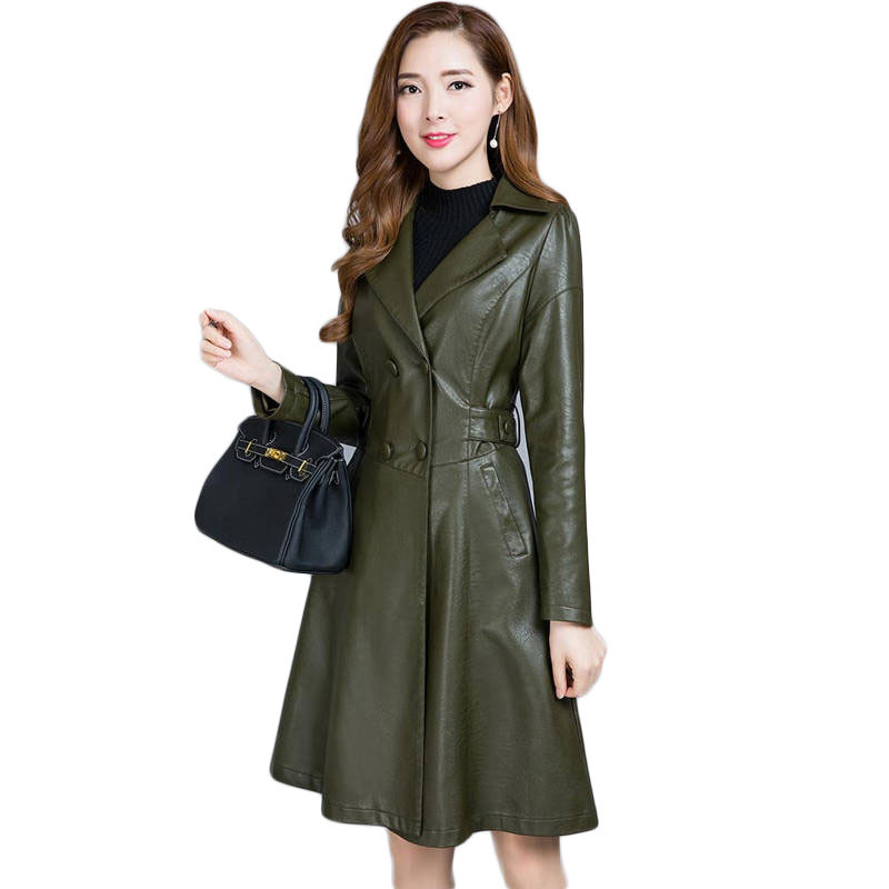 2019 New Spring Autumn Women Thick Warm PU   Leather   Jacket Female Turn-Down Collar Long Outerwear Ladies Faux   Leather   Coat M302