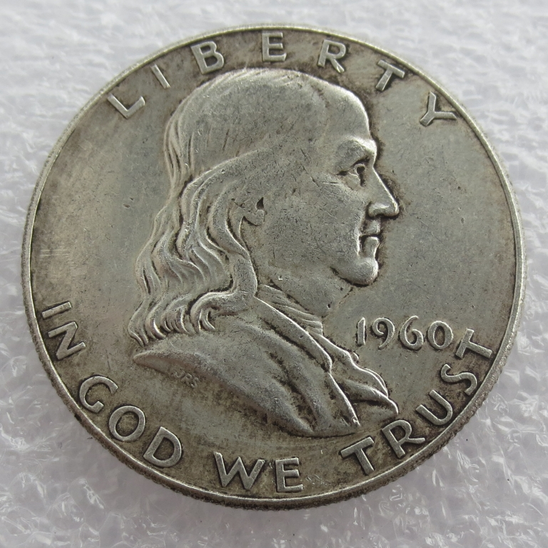 1960 P D Franklin Silver Half Dollar 90% silver or silver plated copy coins High Quality