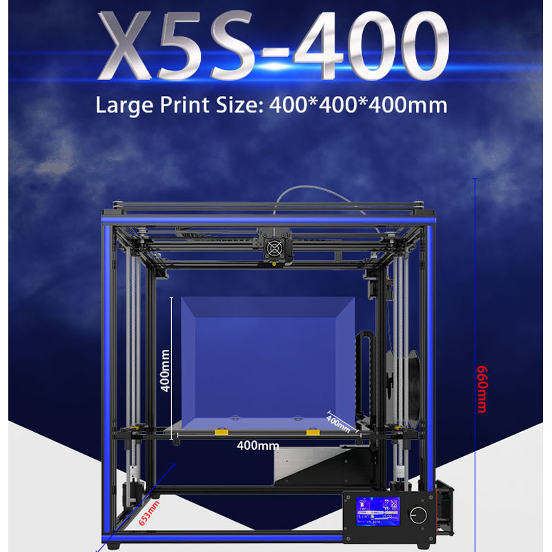Tronxy 3D Printer X5S-400 Big Size print 400*400*400 hotbed Reprap Full Acrylic Assembly DIY 3D Printer Kit With PLA filament enmayer shoes woman supper high heels ankle boots for women winter boots plus size 35 46 zippers motorcycle boots round toe