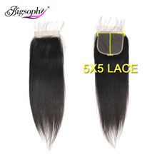 5x5 Lace Closure Straight Hair Malaysian 100% Human With Baby 8-24inch Remy Natural Color Bigsophy
