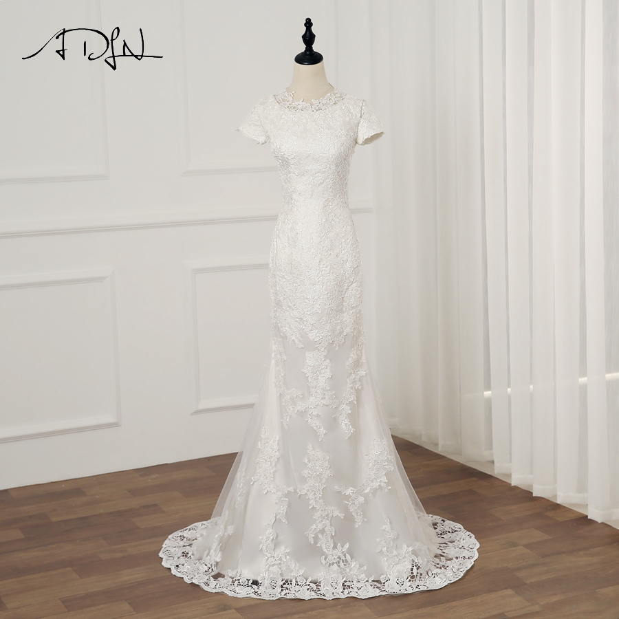 ADLN Real Photo Short Sleeves Mermaid Wedding Dresses Vestidos De Novia O neck Applique Long Lace