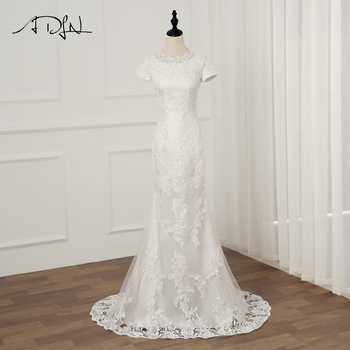 ADLN Real Photo Short Sleeves Mermaid Wedding Dresses Vestidos De Novia O-neck Applique Long Lace Wedding Gowns - DISCOUNT ITEM  45% OFF Weddings & Events