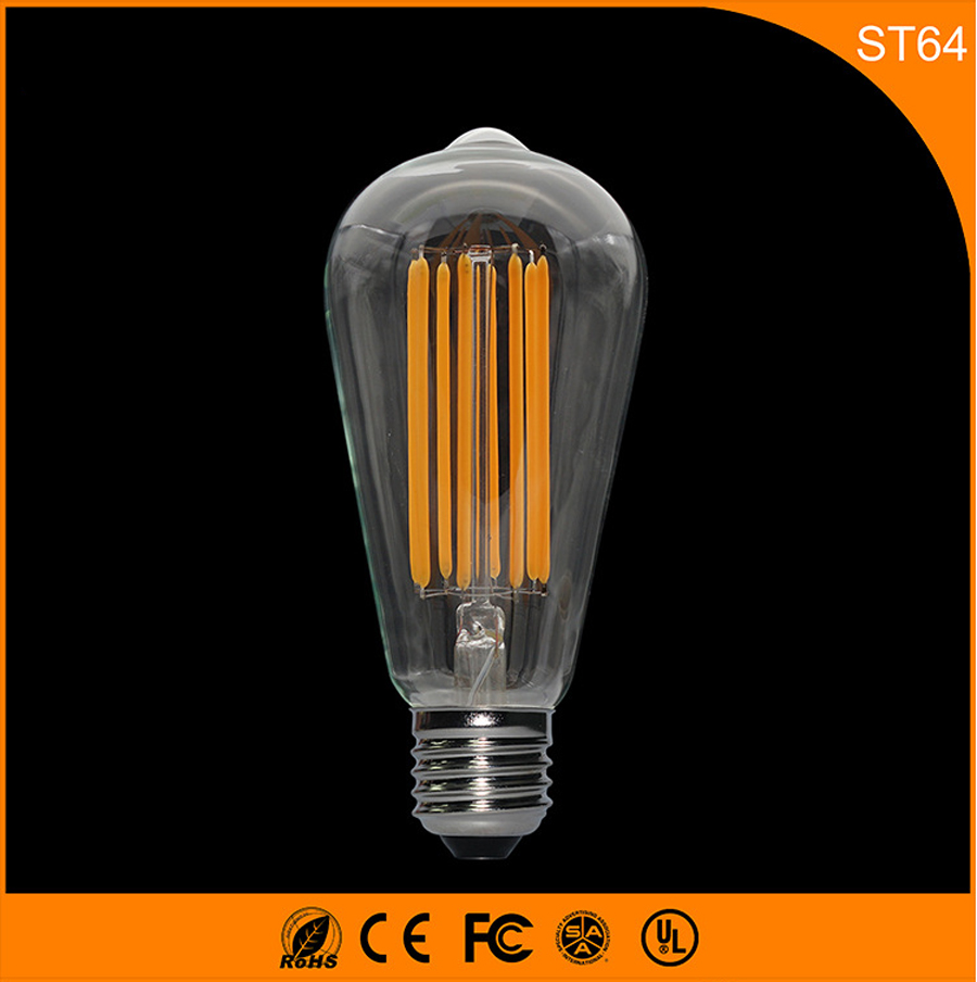 50PCS ST64 8W Led Filament Glass Bulb Lamp,E27 B22 LED Base Retro Vintage Edison, Warm White Energy Saving Lamps Light AC220V high brightness 1pcs led edison bulb indoor led light clear glass ac220 230v e27 2w 4w 6w 8w led filament bulb white warm white