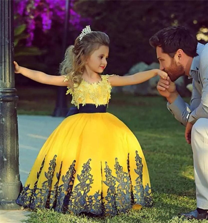 Flower Girl Dresses Yellow Dark Blue Lace Applique Ball Gown First