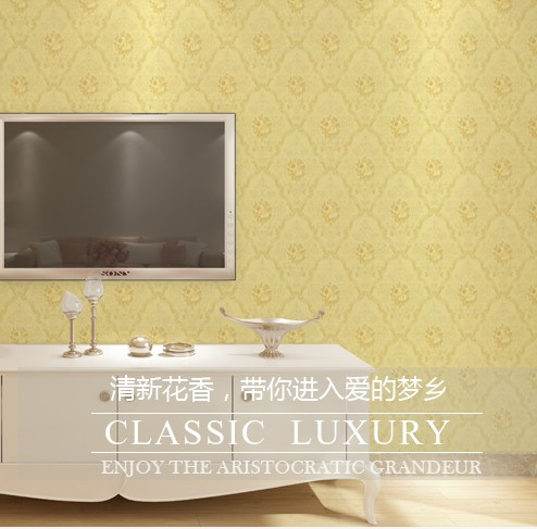 New Classic luxury Wallpaper European fashion and personality contracted sitting room TV setting wall stickers bedroom study
