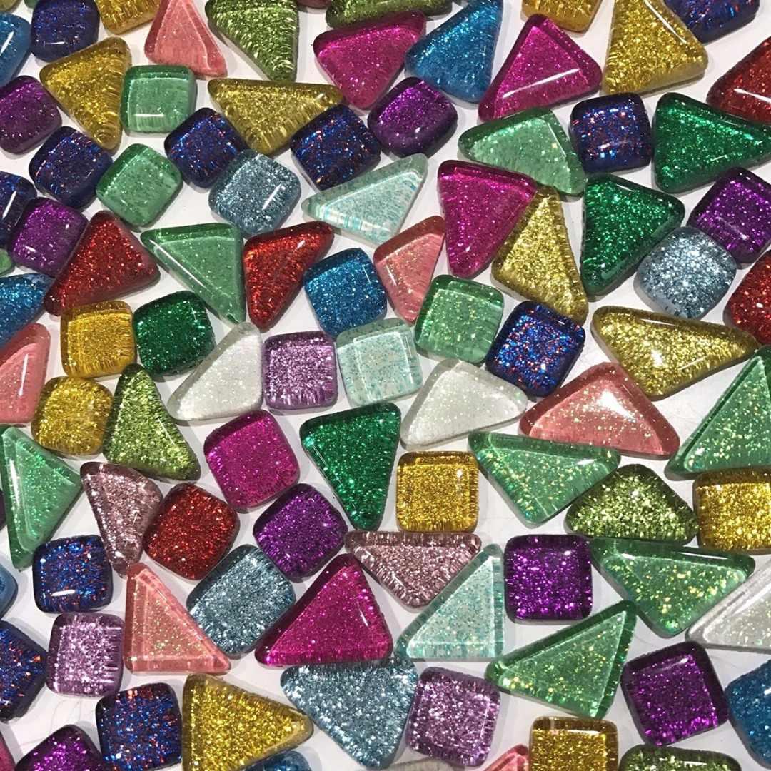 Purple Irregular Shaped Gloss Mosaic Glass Tiles Art Craft Supplies