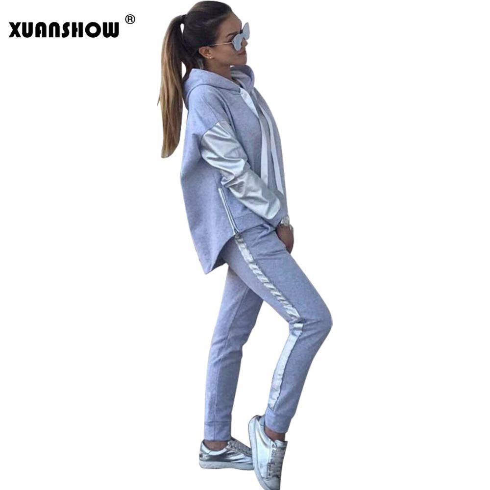 XUANSHOW Streetwear de algodón Casual chándal de las mujeres Otoño Invierno cremallera Irregular costura sudaderas con capucha pantalón largo traje de dos piezas