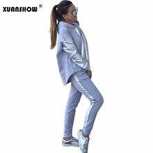 XUANSHOW Streetwear pamuk rahat eşofman kadın sonbahar kış fermuar düzensiz dikiş Hoodies uzun pantolon iki parçalı takım elbise