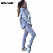 Xuanshow ストリート綿カジュアルトラックスーツ女性の秋冬ジッパー不規則なステッチパーカーロングパンツツーピーススーツ