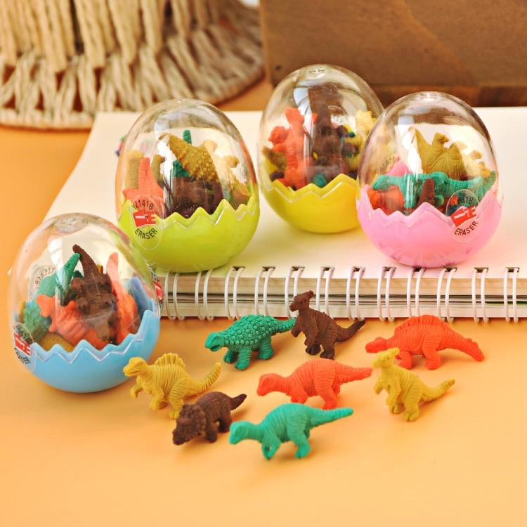 1Ball Cartoon Dinosaur Egg Shape Colorful Novelty Eraser Rubber Escolar Papelaria School Student Prizes Gift Stationery E0521
