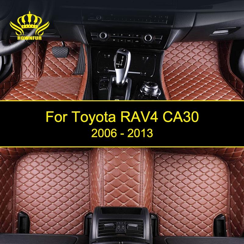ROWNFUR Custom Car Floor Mats For Toyota RAV4 CA30 High Quality Waterproof Leather Floor Mat Car-styling Interior Car Carpet Mat customs car floor mat leather waterproof front
