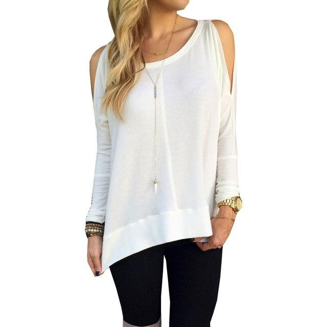 Мода женщин футболки новый 2015 сексуальная-плеча топы с длинным рукавом свободного покроя для женщин свободного покроя топы Большой размер